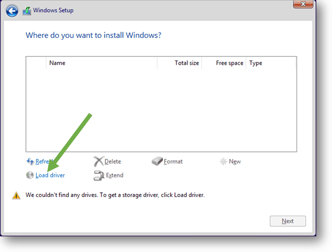 windows 10 installation load driver