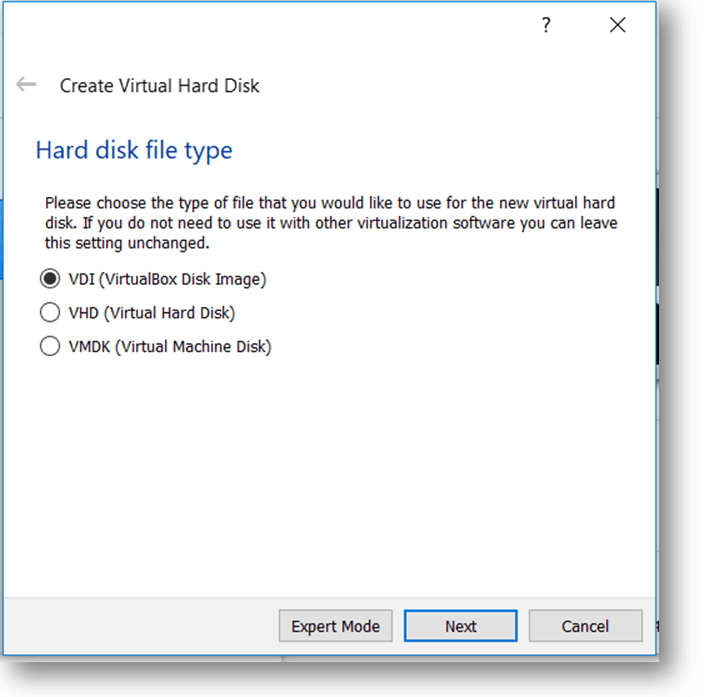 select the hard disk file type