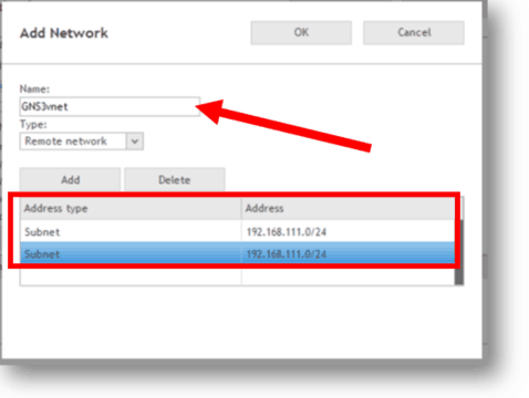 firewall allow local and remote subnet for gns3