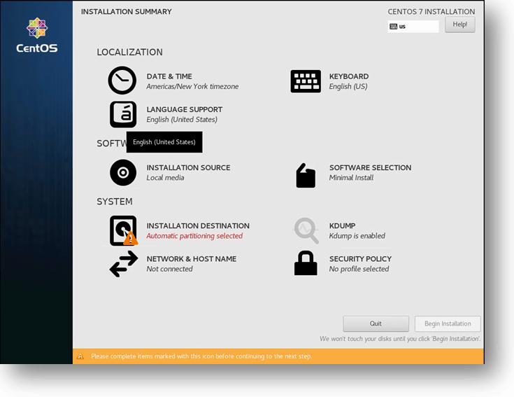 Centos KVM installation Summary
