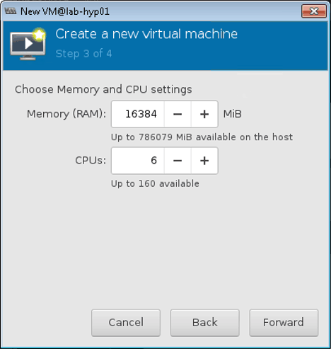 setting memory and CPU for VSD