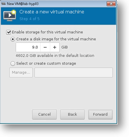 updating the storage for the CentOS vm