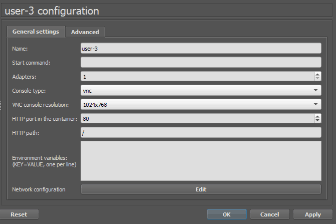 DHCP client configuration in gns3