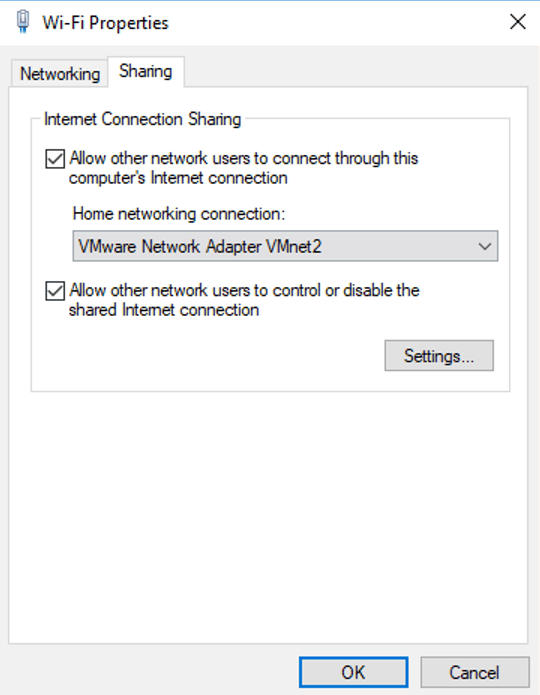 Windows network adapter sharing internet to gns3