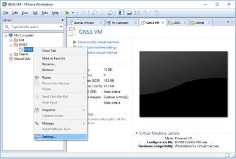 gns3vm vwmare workstation settings