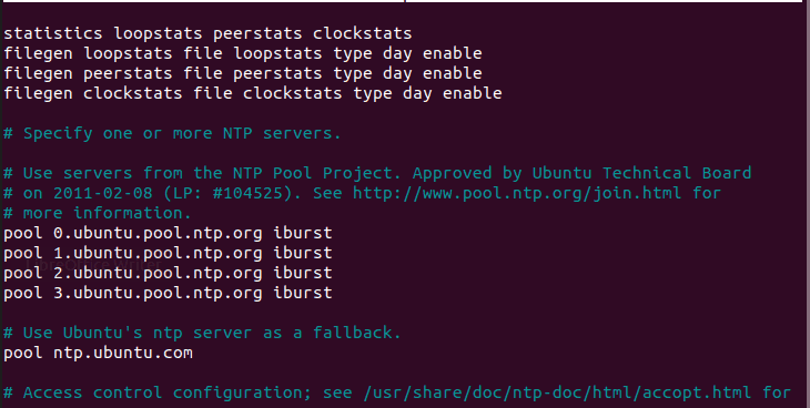 NTP configuration on Ubuntu