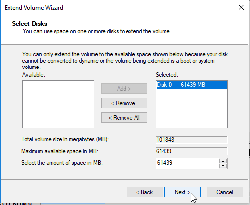 expanding the system storage on windows