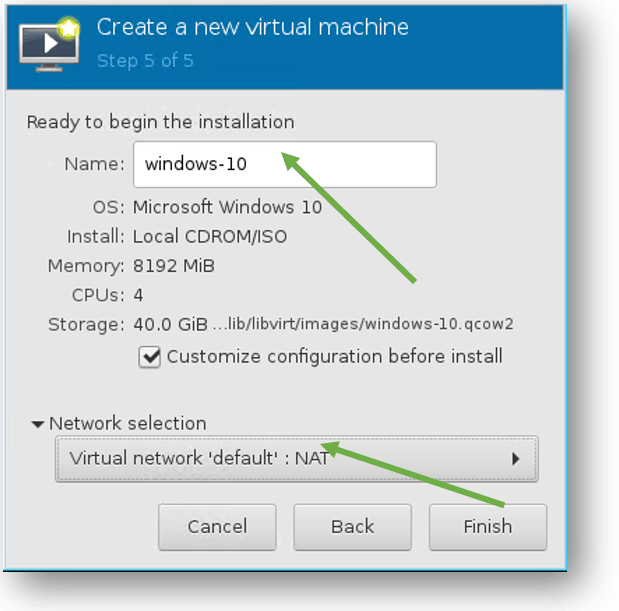 windows vm network configuration in KVM manager