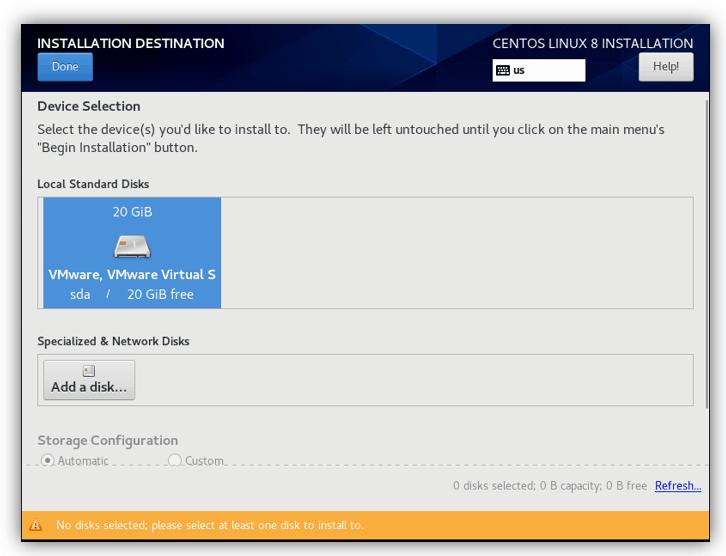 installation destination for centos in vmware workstation.