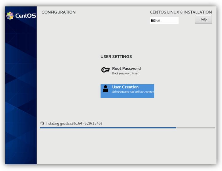 installation progress in centos on vmware