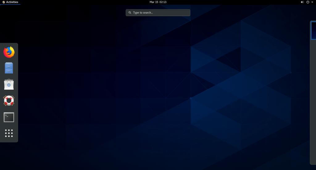 centos 8 desktop in vmware workstation.