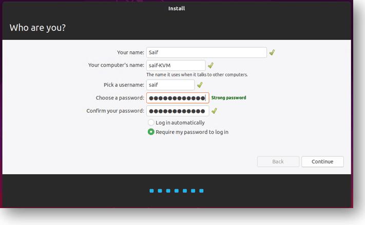 setup the ubuntu qemu credentials