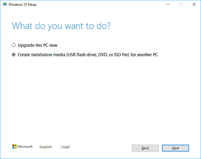 Choose what to do with the windows image.