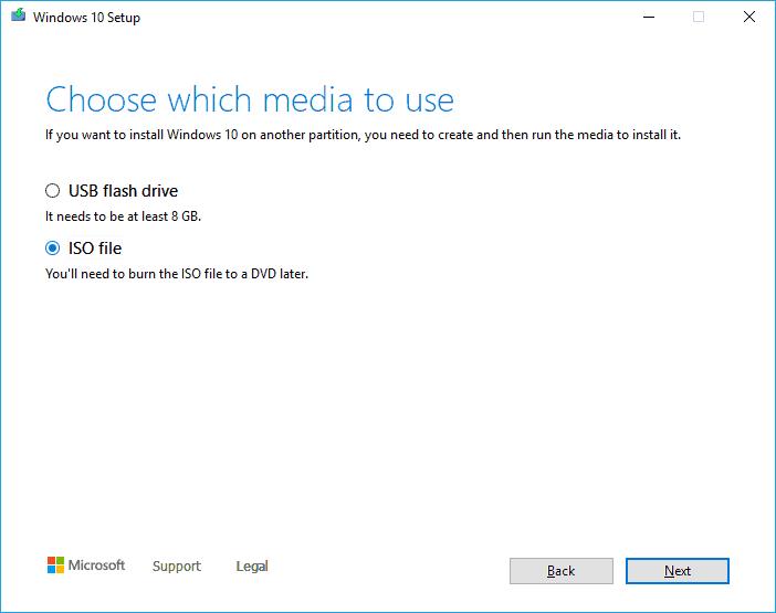 Use windows 10 iso media