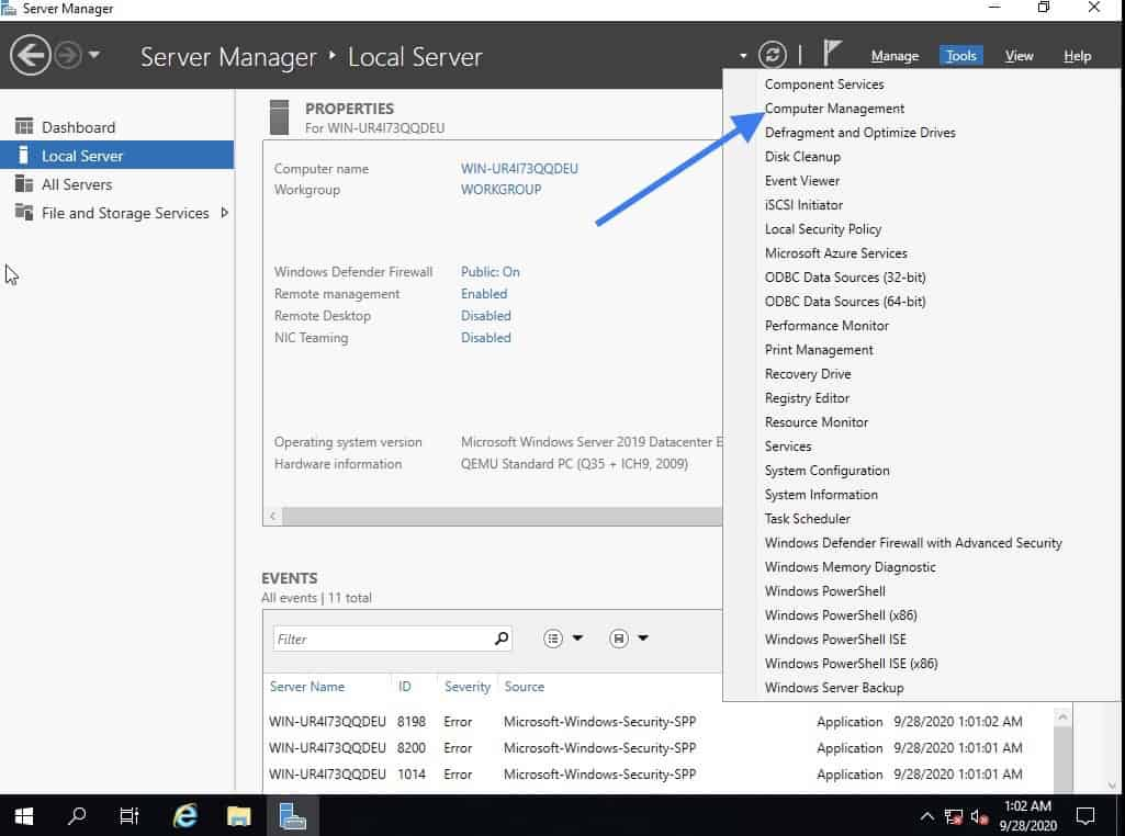 Install the virtio drivers for windows server 2019