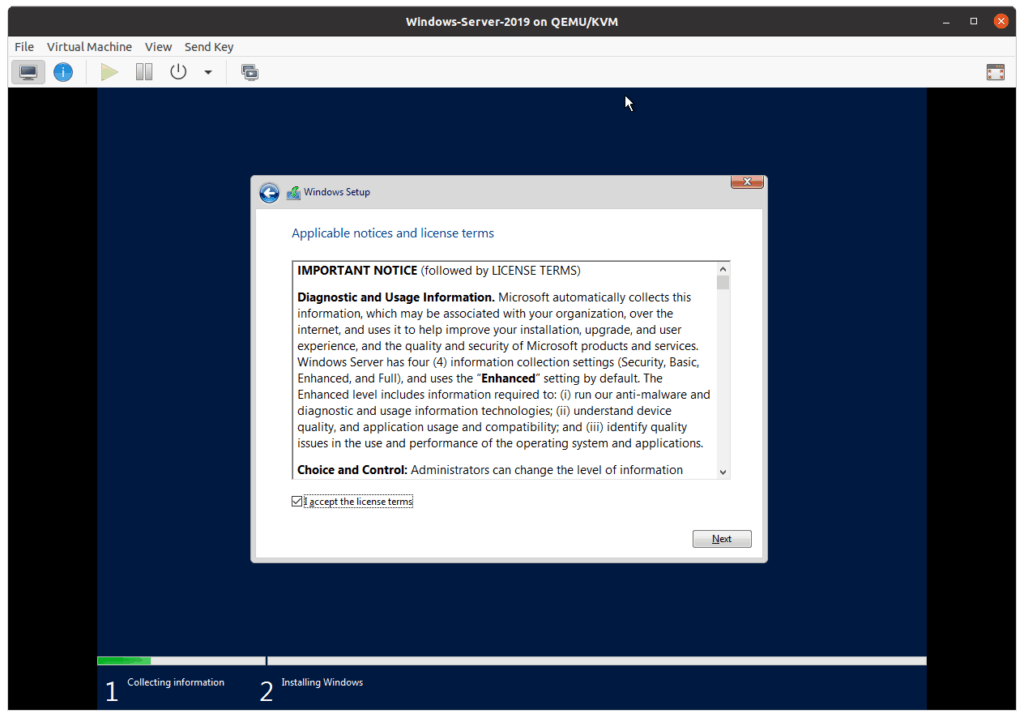accept the windows server license agreement