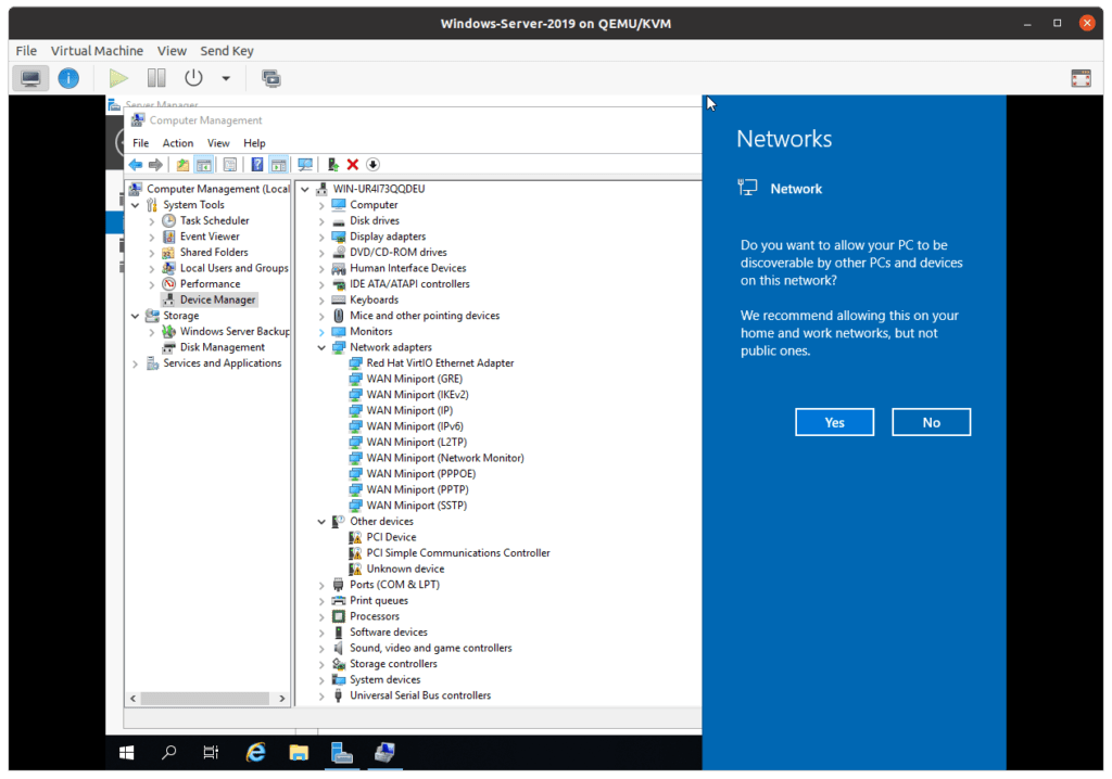 windows server on kvm