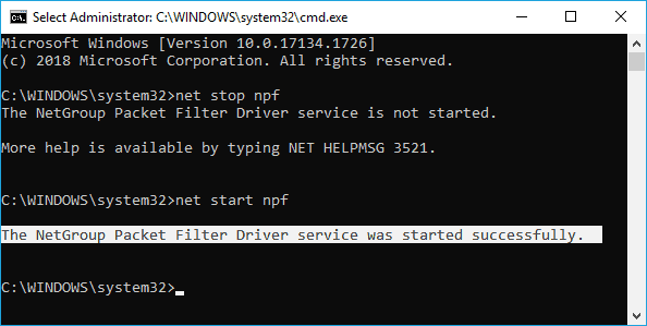 The NPF or NPCAP service is not installed, please install Winpcap or Npcap and reboot