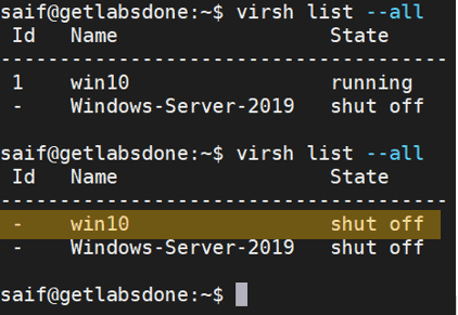 virsh snapshot commands