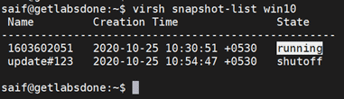 virsh restore from snapshot