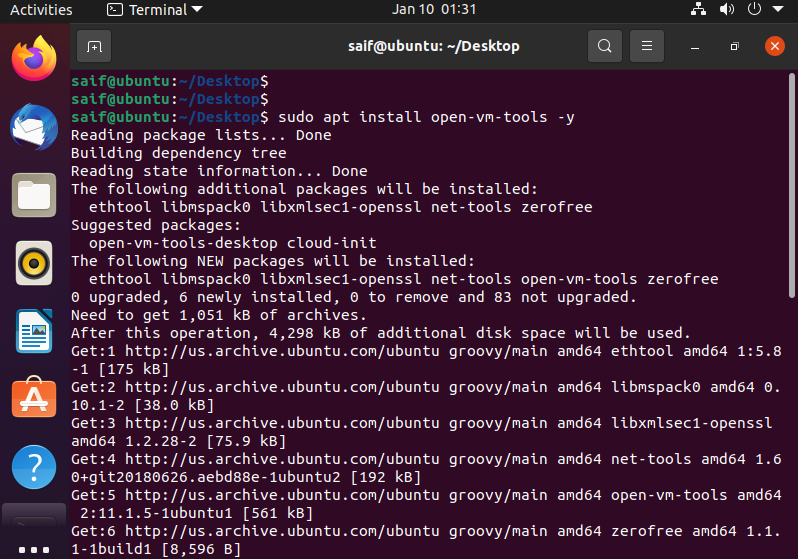 How to install VMware tools in Ubuntu in command line
