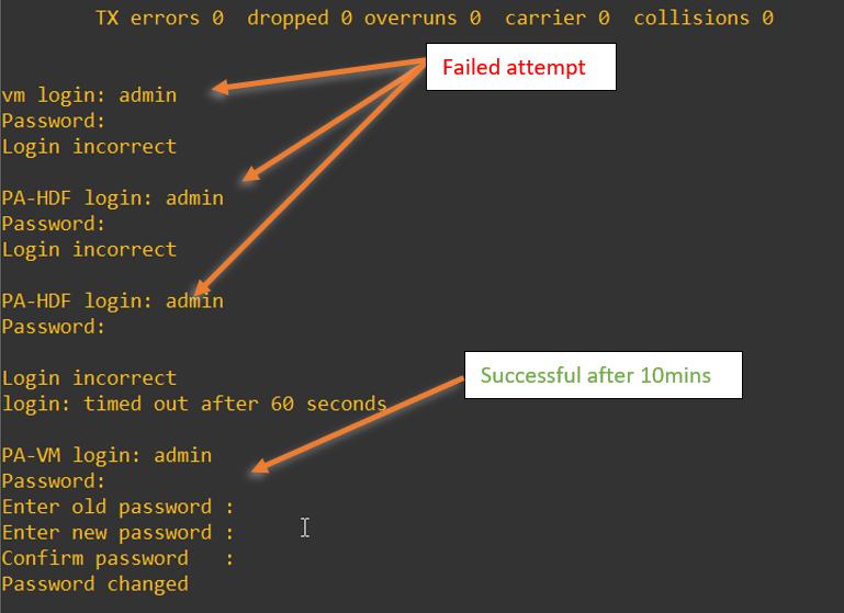 Palo alto PA-HDF login failed