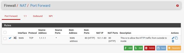 pfSense port forwarding HTTPS