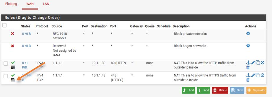 enable logs for pfSense port forwarding 443