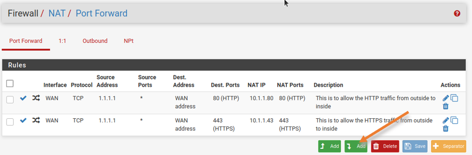 Add pfsense port forwarding for RDP traffic