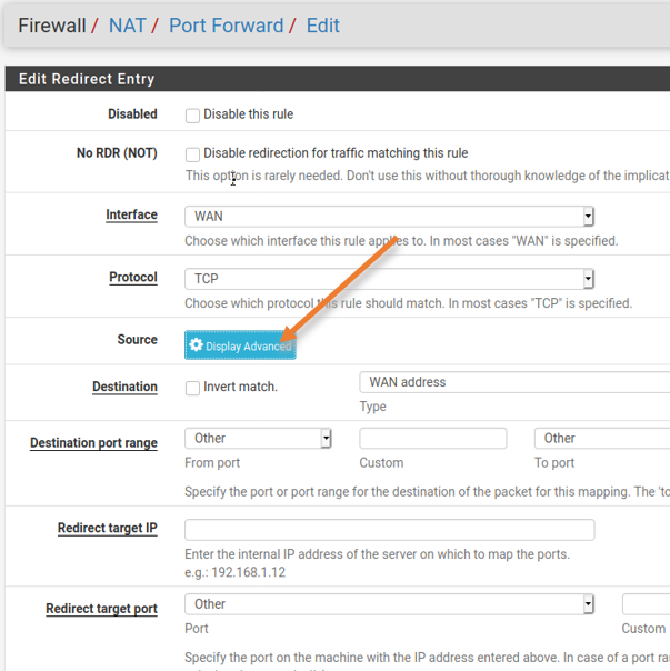 In NAT> port forwarding, click on Display advanced.