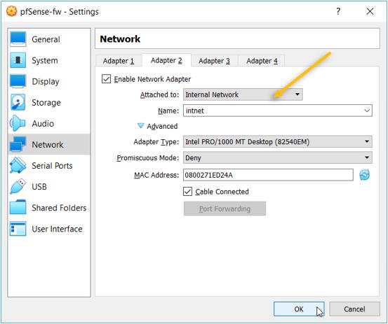 pfsense virtualbox internal network