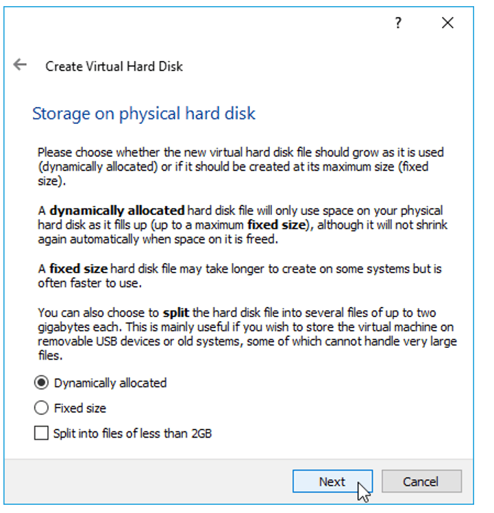 Choose dynamically allocated virtual hard disk for windows 11 in virtualbox