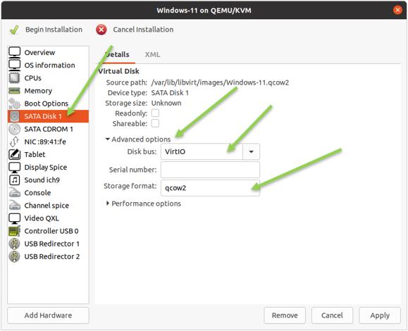 choose windows 11 sata disk type as virtio.