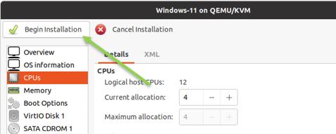Begin windows 11 installation in KVM.