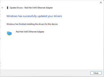 windows 11 network adapter driver installed successfully.