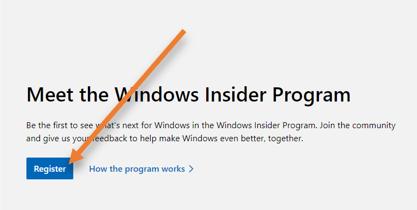 register at windows insider program