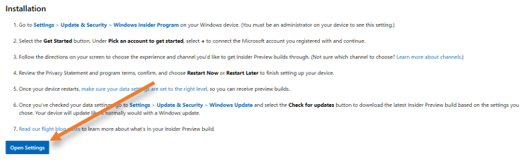 windows insider program settings in windows 10