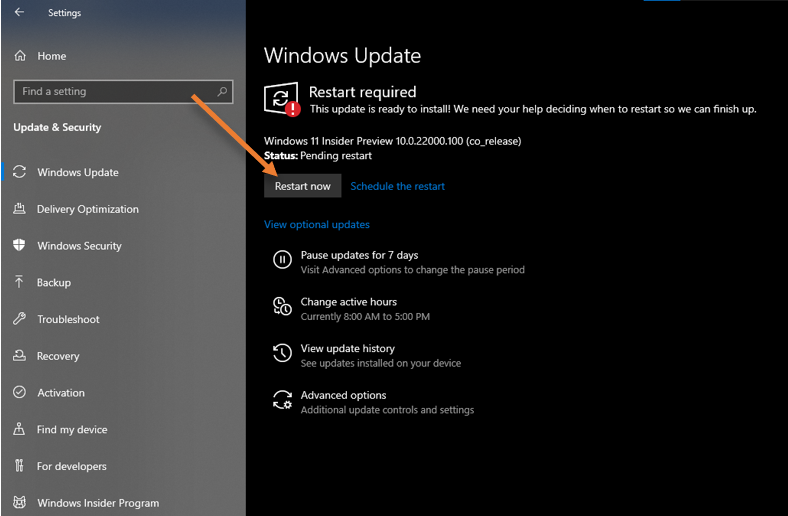 restart to upgrade from windows 10 to 11