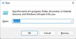 type winver to check the windows version in start run
