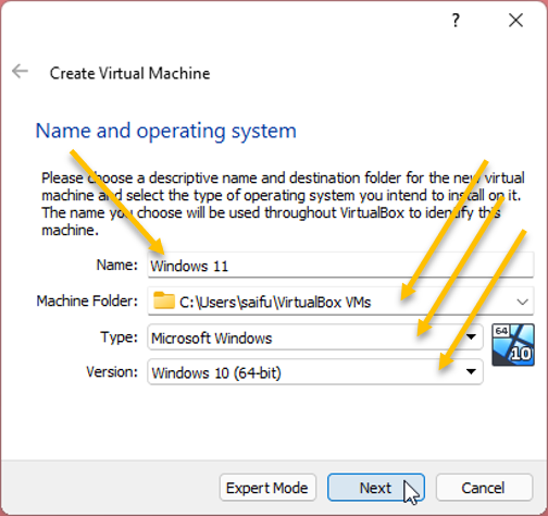 Choose the windows 11 operating system in virtualbox