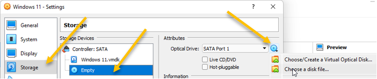 attach windows 11 iso in virualbox