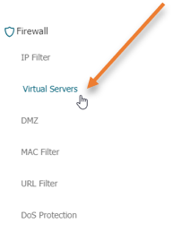 add the virtual server in the router
