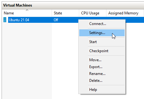disable the secure boot in hyper-v for the ubuntu machine to start.