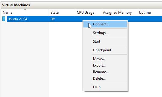 connect ubuntu vm in hyper-v