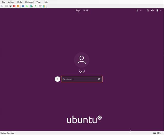 Ubuntu login screen in hyper-v