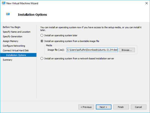 Attach the ubuntu iso image to the hyper-v