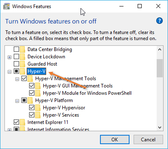 turn on hyper-v feature