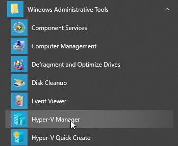open hyper-v from start menu